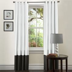 Lush Decor Prima 84-Inch Curtain Panels, Black/White, Set of 2 by Lush Decor. $40.64. Fabric content:100-percent polyester. Care instruction: dry clean. Panel: 54-inch wide by 84-inch deep. Includes: 2 panels. Construction: faux silk. Perfect for any room, these prima window panels feature a classy, simple design. Metal grommets slides onto curtain rod for installation. Full lining provides extra insulation and privacy. Includes: 2 panels. Save 29%!