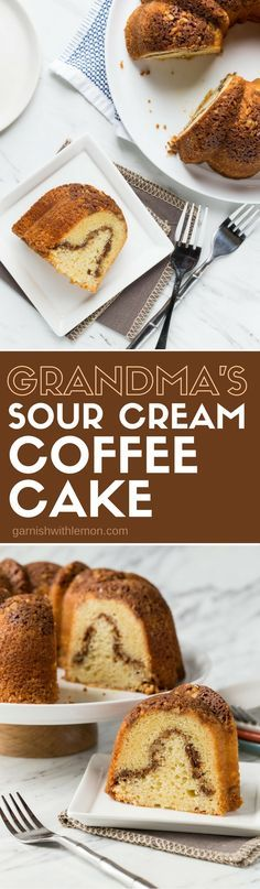 This Sour Cream Coffee Cake recipe is a family favorite from my Grandma, and it's a great make ahead brunch recipe for overnight guests!