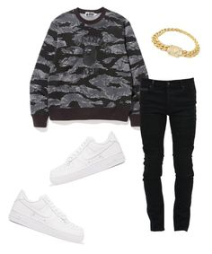 """""""Untitled #448"""" by aintdatjulian on Polyvore featuring Marcelo Burlon, NIKE, men's fashion and menswear"""
