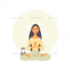 Yoga Girls 433753007862004782 - Girl Namaste Amazing cartoon girl in yoga lotus pose with cute cat. Vector i Source by sylvierousse Namaste, Yoga Meditation, Yoga Inspiration, Yoga Kunst, Yoga Cartoon, Lotus Pose, Lotus Position, Yoga Images, Images Photos