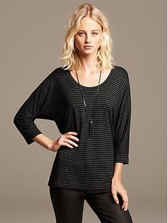 Comes in black and white stripes as well. Striped Dolman-Sleeve Tee