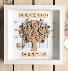 Family Tree Frame For Aunties Christmas Gift Auntie Uncle Personalised Family Tree. Auntie and uncle gift for Christmas Aunt Birthday, Birthday Gifts For Husband, Birthday Crafts, Boy Birthday Parties, Birthday Wishes, Christmas Gifts For Aunts, Homemade Christmas Gifts, Homemade Gifts, Diy Gifts