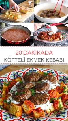 Videolu Tarif -> Köfteli Ekmek Kebabı Tarifi nasıl yapılır? #köfte #ekmekkebabı #nefisyemektarifleri #elifatalar Lunch Recipes, Meat Recipes, Cooking Recipes, Iftar, Healthy Halloween Snacks, Good Food, Yummy Food, Eastern Cuisine, Turkish Recipes