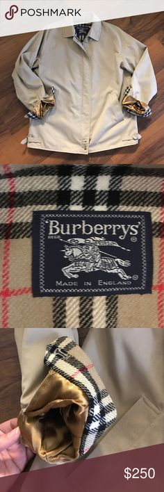 Authentic Vintage Burberry Khaki Jacket Authentic Burberry Khaki Jacket! Khaki on the outside. Hidden pocket and the classic, wool Burberry print on the inside. There's a tiny stain on the right underarm near the wrist which may come out with a dry clean. Otherwise it is in pristine condition! It was my Grams, she had fabulous taste! I can't find a size anywhere but she was a Large. I wish it fit me! Make me an offer! Burberry Jackets & Coats