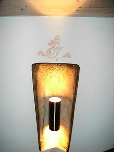 Lamp made from old roof tiles Roof Tiles, Wall Tiles, Tile Projects, Roofing Materials, Vintage Lighting, Candle Sconces, Diy Design, Home Improvement, Wall Lights