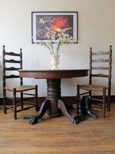Antique Oak Claw Foot Table. $495.00, via Etsy.
