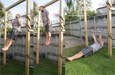 Build Better Grip Adjustable backyard pull-up bar- I kinda want to build a salmon ladder, which looks very similar to this.Adjustable backyard pull-up bar- I kinda want to build a salmon ladder, which looks very similar to this. Backyard Gym, Backyard Obstacle Course, Backyard Projects, Fitness Workouts, At Home Workouts, Cardio Workouts, Diy Gym Equipment, No Equipment Workout, Fitness Equipment