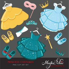 Princess Costumes Clipart with cute matching dress up by MUJKA