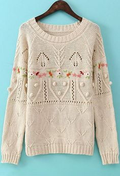 Apricot Long Sleeve Embroidered Twisted Ball Sweater