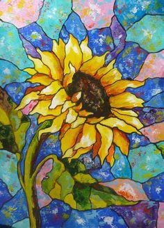 Painting by Akimova ABSTRACT SUNFLOWER flower summer by irinart