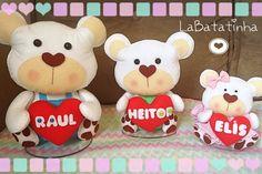 Trio ursos feltro