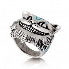Alice in Wonderland Silver-Plated Enamel Cheshire Cat Ring ($62) ❤ liked on Polyvore featuring jewelry, rings, silver plated jewelry, silver plating jewelry, cat ring, cat jewelry and enamel rings