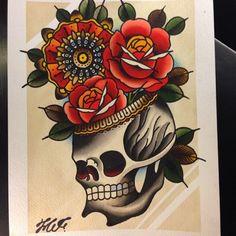 #painting 4 mister @classicjustin #watercolor #painting #paris2013 #skull #headskull #roses #mandala Traditional Tattoo Flowers, Neo Traditional Tattoo, American Traditional, Skull Artwork, Tattoo Flash, Flower Tattoos, Blackwork, Watercolor Painting, Skulls
