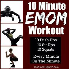 """minute EMOM workout – Shred it at home with no equipment required! at-home workout! 3 awesome exercises """"every minute on the minute"""" at-home workout! 3 awesome exercises """"every minute on the minute"""" for… Workouts Without Equipment, No Equipment Workout, Fitness Equipment, Easy Workouts, At Home Workouts, Yoga Workouts, Interval Workouts, Emom Workout, Workout Fitness"""