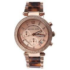 Love this rose gold watch, such a flattering color on everyone. And a great value at $200. Michael Kors MK5538 Womens Parker Steel Tortoise Acetate Bracelet Chronograph Watch