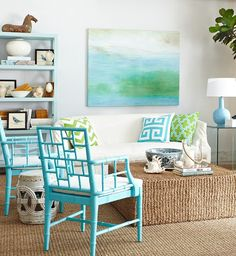 Seagrass Living Room- love the colors and mood of that painting!