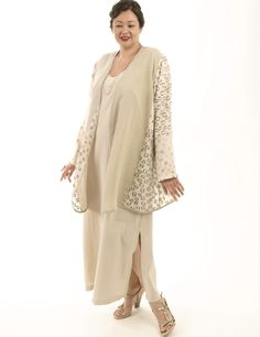 """Gold and ivory """"Snowflakes""""  silks from Bianchini-Ferier are collaged with delicate rusched sandwashed rayons and the result is your favorite unique, go-anywhere jacket for spring and summer.  #PeggyLutzPlus #plussizefashion #plussizemotherofthebride  #plussizespecialoccasion #plussizedesigner #plussizeclothing #plussizeholidayfashion #plussizefashionista #plussizedesignerjackets"""