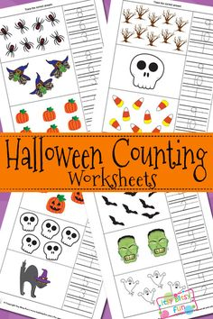 Halloween Counting Math Worksheets for Kids Fall Preschool Activities, Printable Activities For Kids, Preschool Math, Halloween Activities, Preschool Printables, Kindergarten Math, Halloween Worksheets, Kids Math Worksheets, Halloween Math