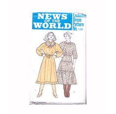 Genuine Vintage 1970s News Of The World 136 Pretty Boho Ladies Floaty Gypsy 2 Dresses plus Scarf Sewing Pattern