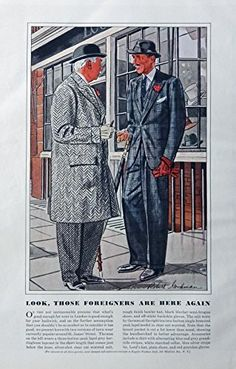 Men's Fashions, Vintage Print Ad. 30's Color Illustrations (Robert Goodman Art, Foreigners) Original Rare 1938 Esquire Magazine Art