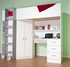 Cambridge High Sleeper Cabin Bed In White. Prices from £309 excluding delivery. From http://www.mrsflatpack.co.uk/cambridge-high-sleeper-cabin-childrens-wardrobe-storage-chest-of-drawers-bookcase-desk-shelving-m2430-138-p.asp