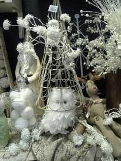 Rod works Shabby Chic Christmas, feather owl, burlap, white wonderland- A Natural Winter Wonderland - Rodworks