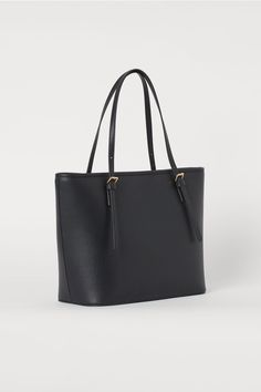 Handbag in faux leather with a zip and two adjustable handles at top. Two inner compartments, one with zip. H&m Handbags, Trendy Handbags, Black Handbags, Fashion Handbags, School Purse, Handbags For School, School Tote, School Hair, Uni Bag
