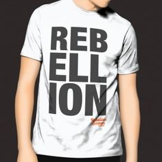 Mens Rebellion T-shirt large text on white. Shirt Shop, T Shirt, Active Wear, How To Wear, Men, Shopping, Tops, Fashion, Supreme T Shirt