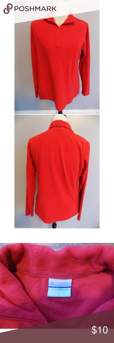 Columbia Red 1/4 Zip Fleece Pullover Large Size Large. It is a thin fleece material. There are no holes or stains. Columbia Jackets & Coats