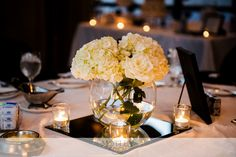 black and white wedding centerpiece