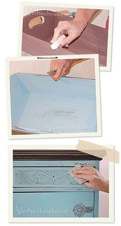 Brocante effect  Het doorschuren van een verflaag is een van de meest populaire technieken om een doorleefd, brocant of vintage, effect te geven aan een meubel of accessoire.
