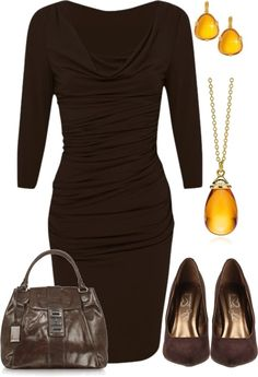 """Brown & Amber"" by stay-at-home-mom on Polyvore"