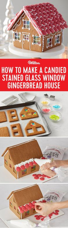 How to Make a Candied Stained Glass Window Gingerbread House - Baked from scratch using Grandma's Gingerbread Cookie Recipe and built using Wilton® royal icing, this house boasts clever remodeling beyond basic decorating. Wilton Candy Melts® Candy tiled roof, candy glass-look windows and royal icing details like scallops, fleur de lis and dots make you the master builder and take this house design over the top! #gingerbreadhouse #christmas #wiltoncakes
