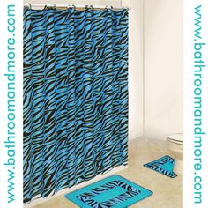 Zebra Print Aqua Blue Fabric Shower Curtain And Bathmat Set.
