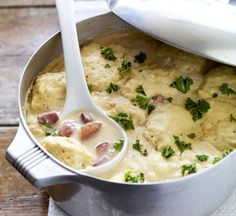 Knoephla (Potato Dumpling Soup) | German-Russians settling the Dakotas put Red River Valley potatoes to good use in this soup with noodle dough cooked in a creamy rich potato-filled base. It's white-on-white comfort food.