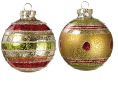 """Glittered Red, Green and Gold Glass Ornaments - 3"""" - Set of 2 - Price : $15.95 http://www.perfectlyfestive.com/Sullivans-Glittered-Green-Glass-Ornaments/dp/B00CXHLJJO"""