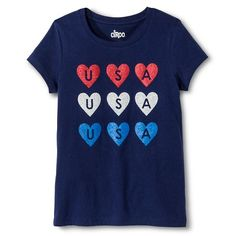 4436f1fc517c18 Girls' Americana Hearts Graphic Tee - Circo™ : Target 4th Of July Outfits,