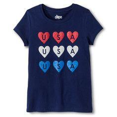 Girls' Americana Hearts Graphic Tee - Circo™ : Target
