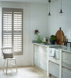 Stylish modern shutters to fit the length of your window. Our range of full height shutters are one of our most sought-after styles. Cafe Style Shutters, Modern Shutters, Kitchen Shutters, Wooden Window Shutters, Interior Window Shutters, White Shutters, Interior Design Degree, Interior Design Blogs, Best Interior Paint