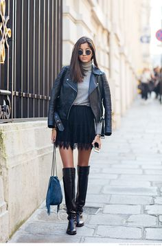 Winter outfit: black leather biker jacket, grey turtleneck sweater, black lace skirt, blue bag, black overknee boots