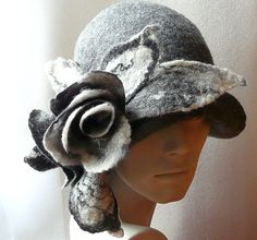 Grey Felted Hat Cloche Hat Fapper Hat Art Hat Gray Hat WELCOME SPRING Cloche Victorian 1920s   Wool Merino wool Grey and White Roses