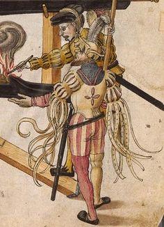 Zeugbuch Kaiser Maximilians I [Book of Emperor Maximilian's Stuff?], BSB Cod.icon.222, 72r, c. 1502; Landsknecht [foot soldier / land soldier]