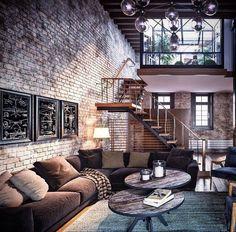 Amazing loft design with exposed brick. amazing loft design with exposed brick brick room, brick walls, retro living