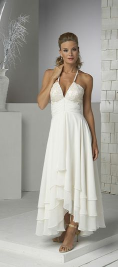 Popular Ivory Halter Informal Wedding Dresses WD