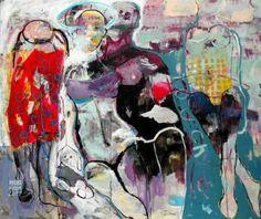 "Saatchi Art Artist RENATA KACOVA; Painting, ""OLIVIA AND BENNY"" #art Art Journal Inspiration, Painting Art, Saatchi Art, Original Paintings, Canvas, Artist, Tela, Artists, Canvases"