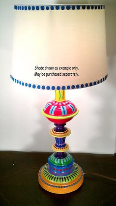 Hand Painted Table Lamp 001 Fun Funky Whimsical and by LisaFrick. This would be so cool on a sun porch or in my office. Whimsical Painted Furniture, Painted Chairs, Hand Painted Furniture, Funky Furniture, Paint Furniture, Furniture Makeover, Painted Dressers, Plywood Furniture, Furniture Design