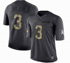 NFL Mens Seattle Seahawks #3 Russell Wilson Green Anthracite Salute to Service Limited Jerseys