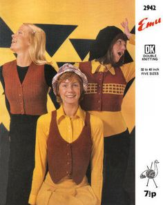 Waistcoat & Midriff Vests Vintage Knitting Pattern for download - Five Bust Sizes 32 - 40