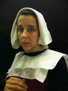 """Artist Nina Katchadourian :      ''While in the lavatory on a domestic flight I spontaneously put a tissue paper toilet seat cover over my head and took a picture in the mirror. The image evoked 15th-Century Flemish portraiture. I decided to add more images in this mode .  It was a 14-hour long-haul flight so I made several forays to the bathroom from my aisle seat . By the time we landed I had a large group of photographs entitled """"Seat Assignment  Lavatory Self-Portraits in the Flemish…"""