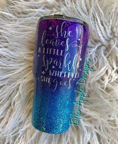 The Mermaid - Purple to Turquoise Glitter Ombre Personalized Yeti Tumbler - Mermaid YETI - Birthday Gift - Granddaughter Gift - Gift for Her